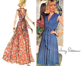 JERRY SILVERMAN Wrap Dress or Evening Maxi Pattern Vogue Americana 1116 Vintage 70s Sewing Pattern Size 14 Bust 36 UNCUT Factory Folds