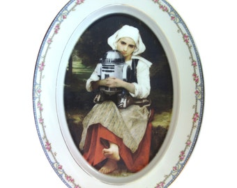 """Girl and R2-D2 Portrait - Altered Vintage Plate 13.75"""""""
