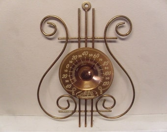 Vintage 1950's/1960's  Cooper Lyre Thermometer