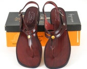 Vintage 70s Sandals, Vintage 1970s Italian Shoes, Deadstock Cherry Leather 70s T Strap Sandals Flats Size 10 M