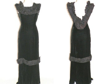 1930s Evening Dress, Vintage 30s Gown, Black Silk Velvet & Taffeta Open Back Dress, Old Hollywood, NRA Label Queen Frocks