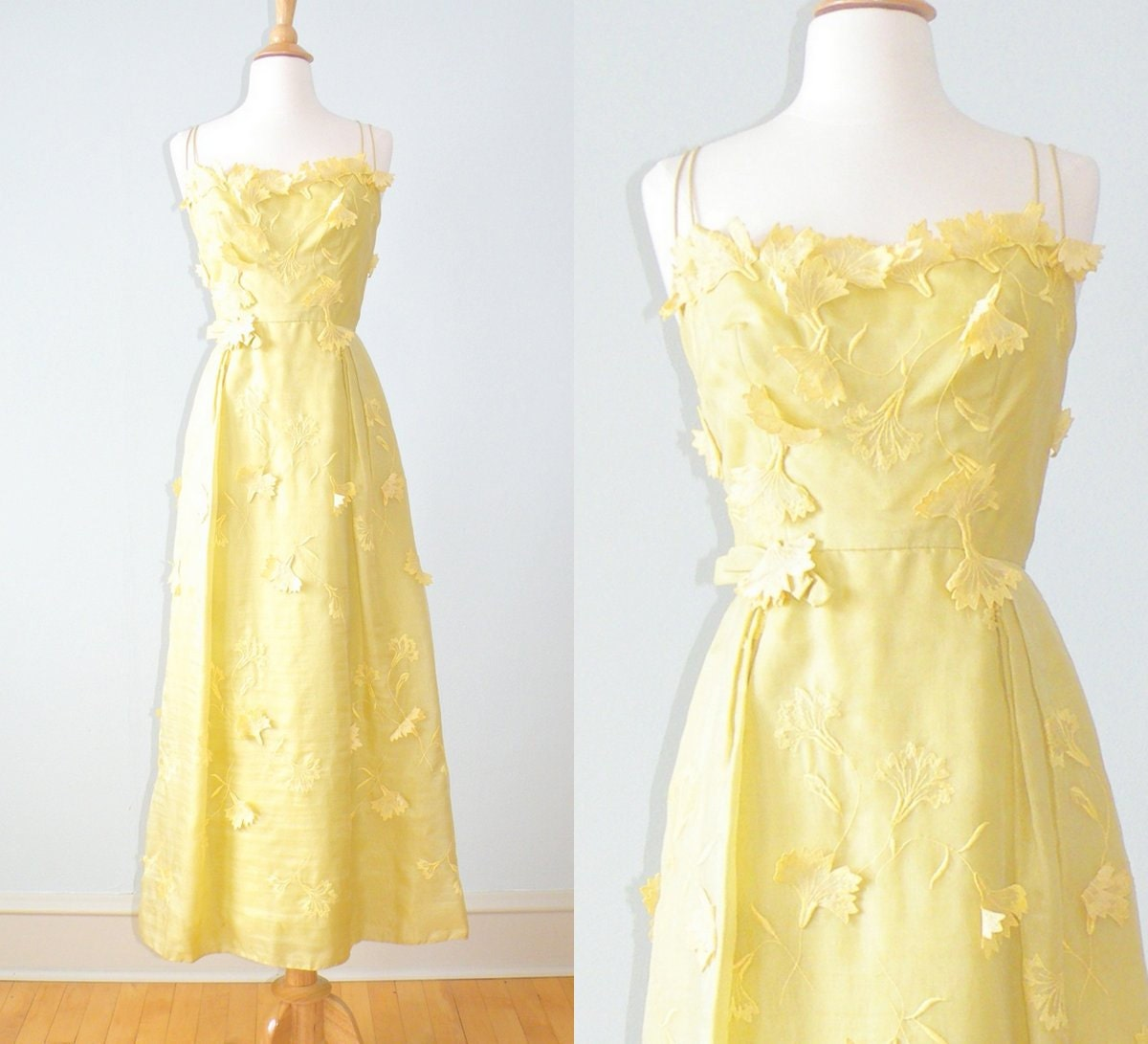 S helena barbieri embroidered yellow dress by