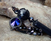 Elegant Metallic Jet Black Hair Stick with Black Chain and Swarovski Heliotrope Dangle - Zemira