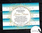 Beach Bridal Shower Invitation, Gold Confetti, Gold Glitter, Printable Invitation, Teal, Nautical, DIY, Digital or Printed Invitation