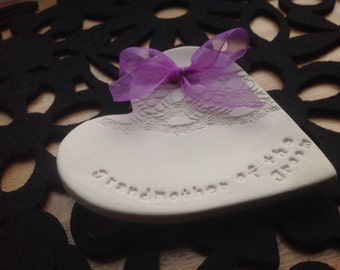 white grandmother of the groom ring plate keeper thank you ceramic heart gift with coloured ribbon