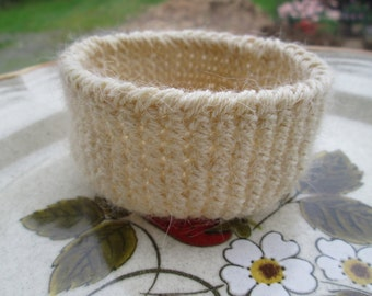 Little Basket made of Hair by SuzannesStitches, Small Fiber Art Bowl, Crocheted Bowl, Soft Bowl, Sotrage Bowl, Earthy Home Bowl, Basket