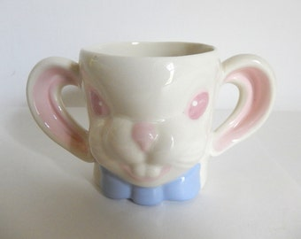 Vintage Ceramic Bunny Rabbit with Ear Handle Children's Cup