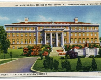 College of Agriculture University Wisconsin Madison linen postcard