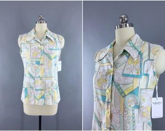 Vintage 1960s Blouse / 60s Hawaiian Print Blouse / Sleeveless Summer Button Down Shirt / Aqua Yellow Mod Print / Size Small 4