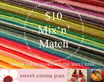 Wool Felt Sheets - Mix and Match sizes and colors - Ten Dollars worth of Wool Blend Felt