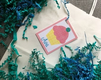 Goody Bag Gift Tags Personalized Cupcake Tags Baking Party Goodie Bag Baking Party Favor Cupcake Party Favor Cupcake Bag Tag Cupcake Gift
