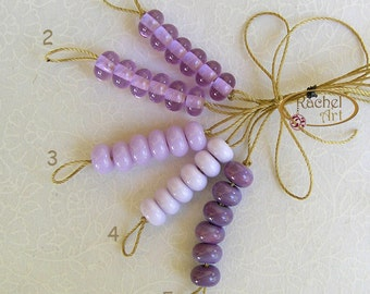 Lampwork Glass Donuts Beads, Lavender Glass Round Spacers Beads - Rachelcartglass