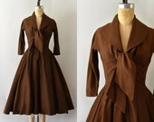 RESERVED LISTING -- 1950s Vintage Dress - 50s Gigi Young Brown Fall Formal Dress