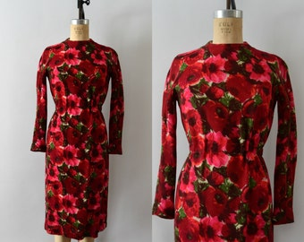 RESERVED LISTING -- Vintage 1960s Dress - 60s Anne Fogarty Floral Wool Wiggle Dress