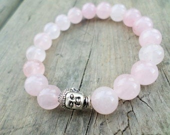 Rose Quartz Stretch Bracelet Wicca Pagan Reiki Chakra Buddha