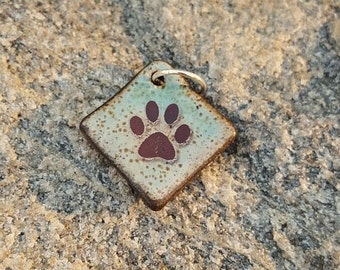 PAW PRINT charm handmade Pet Memory ceramic pendant bead green blue brown Dog Paw Cat Paw Boho Charm Pet Lover Gift