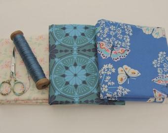 Designer fabric clearance/fabric destash/Fat Quarter/Heather Bailey/Anna Maria Horner/Amy Butler/shades of blue pink