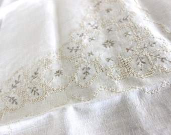 Embroidered Tablecloth, Wheat Colored Linen, Hand Cross Stitched, Vintage Table Cloth 13465