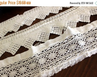Handmade Lace Trim, Filet Crochet Lace, Wide Lace Trim, Pillowcase Trims 13204