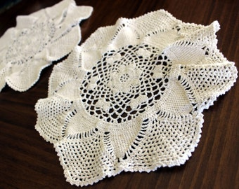 Crochet Doilies, 2 Similar Hand Made Doilies in Light Ecru, Handmade Crocheted Doilies 13671