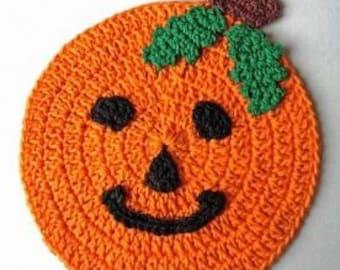 Halloween/Thanksgiving Crochet Pumpkin Potholder Wall Decor