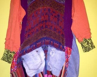 Upcycled purple orange sweater tunic with denim fits M L XL