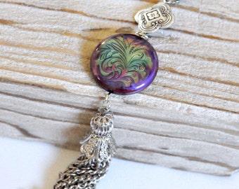 Antique Silver Tassel Necklace, Silver Mood Necklace, Mood Bead Necklace, Color Changing Necklace, Long Tassel Necklace, Bohemian Necklace