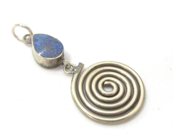 1 charm  - Tibetan silver spiral teardrop design dangle charm pendant with lapis inlay  - PM521C