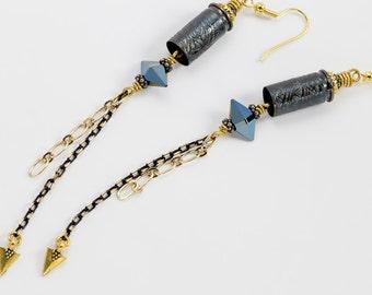 """Bullet earrings, etched bullet casing earrings """"Tribal Vibe"""" - .32 auto bullet earring - dangle earring - bullet"""