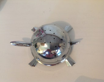 Vintage Mid Century Chrome Mock Turtle Toothpick Holder