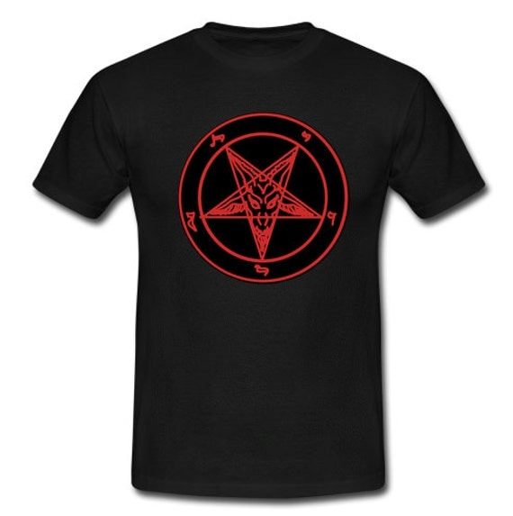 Red Baphomet Pentagram Tee