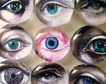 SPECIAL-Lot of 10 Eyeball Large Glass Gemstone Eyeball Magnets