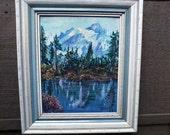 Vintage Mid Century Oil Painting Mountain Lake Landscape signed Reynolds
