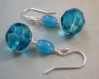Blue Glass Earrings, Sterling Silver Earrings, Vintage Czech Glass Earrings, AB Beads, Dyed Jade Earrings, Modern Earrings, Teal Earrings