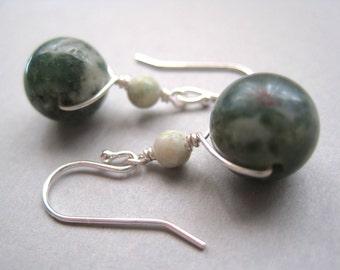Green Jasper Earrings, Earthy Earrings, Sterling Silver, Gemstone Earrings, Quartz Earrings, Green Earrings, Minimalist