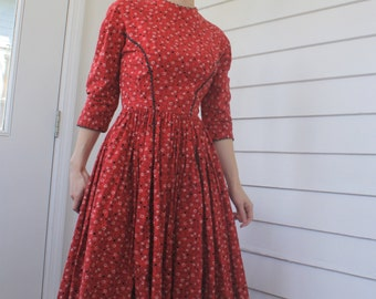 Vintage 50s Lanz Dress Red Print Floral 1950s XS Button Back Cotton