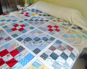 Vintage Quilt Patchwork Reverses To Floral