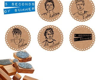 5SOS 5 Seconds Of Summer  Olive Wood Stamps 5 Designs Available