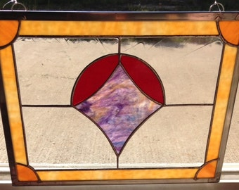 """Stained Glass Panel, """"Log Cabin Dream"""""""