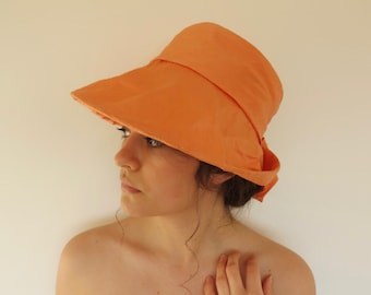 Vintage 60s 70s Handmade Silk Apricot Orange Formal Bucket Hat Sun Hat with Bow Sunbonnet