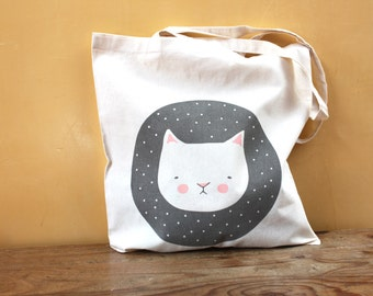 SALE Tote bag - Screen printed -  Meancholicat