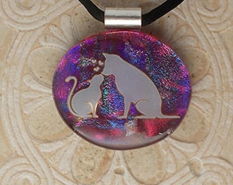 Dog & Kitty Kisses Dichroic Glass Necklace DGP 070