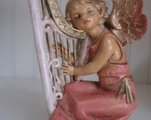 Original FONTANINI ANGEL playing the harp 1980s made in Italy in vintage colors of pinks and golds