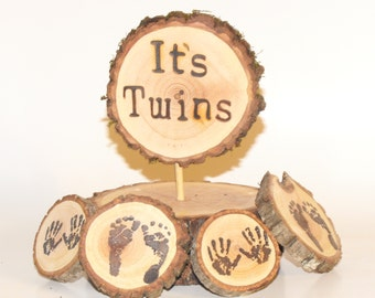It's Twins Baby shower package ~ Woodland baby shower decor ~ Gender Reveal ~ Rustic baby shower ~ Birth Announcement ~ Tiny feet/hands