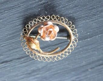 Delicate Krementz Gold Filled Vintage Filigree Flower Pin