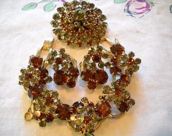 Vintage Juliana Necklace Bracelet Earrings Topaz Grey Rhinestones FREE SHIPPING