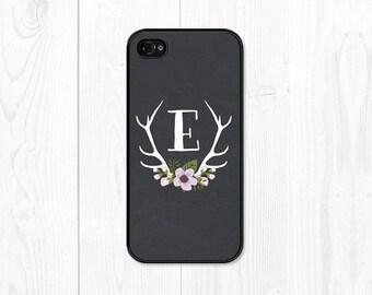Monogram iPhone 6 Case Floral iPhone 6s Case Monogram iPhone 5s Case Deer Antler iPhone 5c Case iPhone 6 Plus Case Personalized iPhone Case