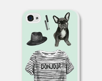 Dog Lovers Gift iPhone SE Case French Bulldog iPhone 5 Case iPhone 6s Case Paris iPhone 6 Case Cute Samsung Galaxy S6 Case Mint Green