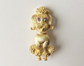 Vintage Gold-Tone Poodle Brooch with Red Aurora Borealis Eyes Pin