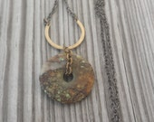 Natural Stone and Metal Pendant Necklace